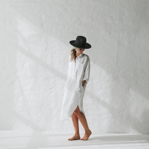 Linen shirt dress white