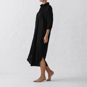 Linen shirt dress black