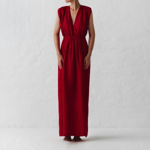 Linen column dress red