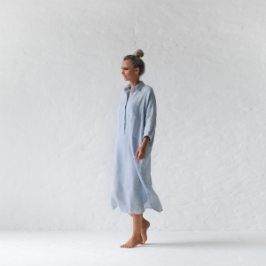 Linen shirt dress blue