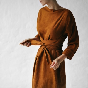 Linen dress with belt mustard