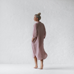 Linen shirt dress dusty pink