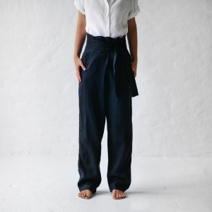 Wrap trousers navy