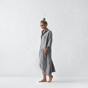 Linen dress oversized grey