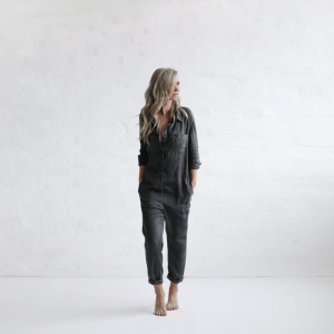 Linen boilersuit grey