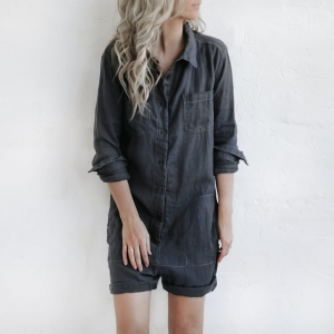 Linen boilersuit grey short